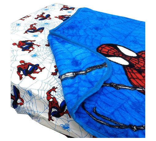 Store51 LLC - Spider-Man Webslinger Toddler Bed Fitted Sheet Blanket Set - Features: