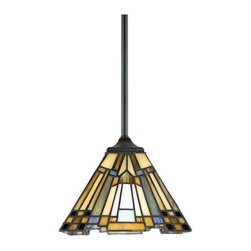 Quoizel Lighting - Quoizel TFIK1508VA Inglenook 1 Light Mini Pendant, Valiant Bronze - Long Description: A classic geometric Arts & Crafts piece with handcrafted art glass in shades of sapphire blue, warm honey, amber and cream. Arts and Crafts is an enduring style that honors the tradition of fine craftsmanship and attention to detail. This piece is a great way to light up a kitchen island or a pool table with style.