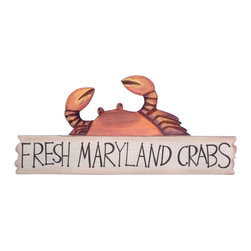 """Handcrafted Nautical Decor - Wooden Fresh Maryland Crabs Sign 17"""" - Wooden Beach Sign - This Wooden Fresh Maryland Crabs Sign 17"""" is a great addition to a beach themed home. Perfect for welcoming friends and family, or to advertise a festive party at your beach house, bar, or restaurant, this sign is sure to brighten your day. Place this beach sign up wherever you may choose, and enjoy its wonderful style and the delightful beach atmosphere it brings."""