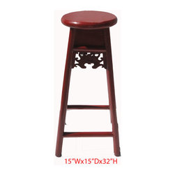 "Chinese Red Solid Elm Wood Bar Stool - Dimensions: 15""Wx15""Dx32""H"
