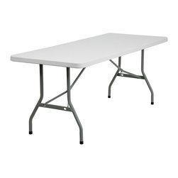Flash Furniture - Flash Furniture Granite White Plastic Folding Table in White - Flash Furniture - Folding Tables - RB3072GG - Commercial grade folding table that is designed to withstand the test of time! Flash Furniture's 30''W x 72''L Folding Table features a durable stain resistant blow molded top and sturdy frame.