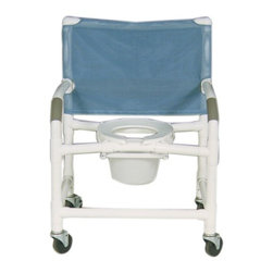"MJM International - Extra Wide Deluxe Shower Chair and Optional Accessories - Features: -10 quart slide out commode pail. -No bar in back. -Manufactured of healthcare grade PVC pipe and fittings. -Fast drying mesh back. -Contoured frame, no sharp edges, to avoid skin breaks during transfers. -Reinforced at all stress related areas. -Deluxe elongated open front soft seat ideal for both male and female. -2 lock and 2 non lock 3"" casters for easy maneuverability and transferring. -Anti-slip safety hand grips. Specifications: -Internal Width: 26"". -External Width: 30"". -Seat Height: 20"". -Threaded Stem Casters: 4"" x 1 1/4"". -Weight Capacity: 425 lbs. -Overall Dimensions: 40"" H x 30"" W x 18"" D."