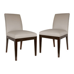 """Atelier of Prague, Inc / Jan Rosol - Decus Dining Chairs - Jan Rosol Decus Collection chair with fluted rails, shown in coffee bean finish and fawn leather upholstery, 20""""w x 24""""d x 36""""h. Seat: 20""""w x 17""""d x 18""""h. Also as a bar or counter stool. Custom finishes are available."""