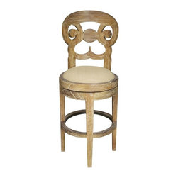 NOIR - NOIR Furniture - Saragossa Swivel Barstool - GSTOOL205G, Grey Wash - Features: