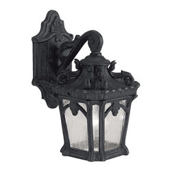Kichler Lighting - Kichler Lighting 9355BKT Tournai Traditional Outdoor Wall Sconce - With its heavy textures, dark tones, and fine attention to detail, this 1 light outdoor wall fixture from the Tournai(TM) collection stands out from other outdoor fixtures. Handmade from cast aluminum, its distinctive Textured Black finish and Clear Seedy Glass panels give this piece a unique aged look.