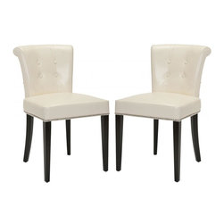 Safavieh - Kotori Dining Chair (Set of 2) - The bent back of the Kotori dining chair, in flat cream leather upholstery and espresso finish on birch legs, gets a classic dressed-up punch thanks to exposed nail heads and cleaver metal ring on its back. Button tufts on the front of the tapered backrest and generous cushions make it a handsome seat.