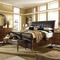 American Drew 591-308R Bob Mackie Home Signature Sleigh Bed 6/0 - 591-308R Sleigh Bed 6/0 from Bob Mackie Home Signature by American DrewW80 D93 H63Wt. 332 Cubes 63.2Consists Of:*308 SLEIGH LEATHER HEADBOARD 6/0W80 D13 H63Wt. 180 Cubes 51.4*309 SLEIGH FOOTBOARD 6/0W80 D4 H20Wt. 57 Cubes 7.2*R59 WOODEN RAILS 6/0W80 D3 H16Wt. 72 Cubes 4.2*SK1 MATTRESS SUPPORT SYSTEMWt. 23 Cubes 0.4