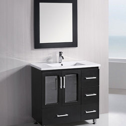 """Design Element - Stanton 36"""" Single Sink Vanity Set  Espresso, 36, Drop in Sink - The Stanton 36"""" vanity is elegantly constructed of quality woods. The porcelain counter top and seamlessly integrated sink design contrast with the rich features of the espresso cabinetry to bring a crisp and contemporary look to any bathroom. This stylish design includes four drawers and a soft-closing double-door cabinet, all adorned with satin nickel hardware. Included is a matching framed mirror. The Stanton Bathroom Vanity is designed as a centerpiece to awe and inspire the eye without sacrificing quality, functionality, or durability."""