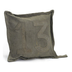 """#13 Gypsy Pillow - Marked with the number thirteen, this gypsy pillow will grab your acquaintance""""s glare at a single go. With recycled vintage tent canvas and neat stitching, constitutes this gypsy pillow. A part of the French country collection, its raw finish exhibits a chic appeal and adorns any decor type."""