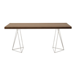 Temahome - Multi 71-Inch Tabletop with Trestles, Walnut/Chrome - Perched on polished chrome legs, this gorgeous table is sleek, simple and hard to ignore. Light and lovely, but as solid as they come, it gives you a stylish spot for dining, drafting or display.