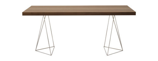 """Temahome - Multi 71"""" Table Top W/ Trestles, Walnut / Chrome - Perched on polished chrome legs, this gorgeous table is sleek, simple and hard to ignore. Light and lovely, but as solid as they come, it gives you a stylish spot for dining, drafting or display."""