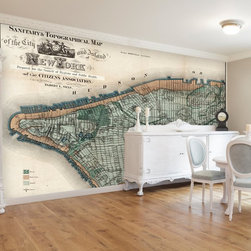 Swag Paper - Swag Paper Map of 1865 Sanitary & Topographical New York Self-Adhesive Wallpaper - Shop for Wallpaper from Hayneedle.com! The Swag Paper Map of 1865 Sanitary & Topographical New York Self-Adhesive Wallpaper shows New York before it was dubbed the Big Apple. This stunning wallpaper design is a precise reproduction of Egbert Ludovicus Viele's Sanitary and Topographical Map of the City and Island of New York published in 1865 which is now known as the Viele Map. Breathtaking in its scale and authenticity it shows the city that never sleeps when it was simply a melting pot. It comes in your choice of available colors and sizes.This 1865 map of New York was designed to entice apartment dwellers do-it-yourselfers and historical buffs alike. It has an easy peel-and-stick design that is crinkle-free repositionable and removable. It applies easily over clean primed or painted walls and flat surfaces or furniture. Now anyone can get a custom look for their home.The Tools You'll Need:Tape measureSpongeStraight edgeLevel (optional)Utility knife or razor bladePlastic smoother (a credit card also works)Step stool or ladderEasy Installation Instructions:Measure the width of your wall in feetDivided the width by 2 to find the number of panels you'll needPeel backing by about 8 to 12 inches and apply to wallSmooth overKeep pulling the backing away in 8- to 12-inch incrementsTrim off the excess materialOverlap panels by 1 inch to match patternsCreate a butt seam by cutting the top overlapping layer of wallpaper removing it and smoothing overSwag Paper - Empowering the Do-It-Yourselfer:Forget the paste the crinkles and cutting rolls of wallpaper to make the patterns match. Dave and Daniela Fields a brother-and-sister team developed Swag Paper for Do-It-Yourselfers with high aspirations and little time. Their adhesive-backed panels apply in a fraction of the time it takes to apply traditional wallpaper and all you really need in the way of tools is a tape measure sponge st