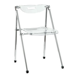 LexMod - Telescope Folding Chair in Clear - A combination of convenience and comfort, the Telescoping Chair offer many desirable features. The back tilts to support you, even when you are reclining. For storage, the chair's telescoping legs allow you to effortlessly fold the chair down to a compact