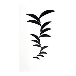 Ekko Workshop - Crescent Cascade Mobile - Black - A simple hanging mobile is an elegant way to infuse a room with color, shape and whimsy. Pick from four monochromatic color palettes and then find the perfect place to hang this sculptural piece. Go for a sunny spot where each crescent can create dancing shadows around your space for maximum impact.