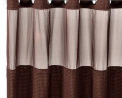 """Hookless - Hookless Waffle 71-Inch x 74-Inch Fabric Shower Curtain and Liner Set in Chocola - This innovative shower curtain and liner offer no hassles thanks to their """"split ring"""" hookless design that lets you hang them in less than 10 seconds."""