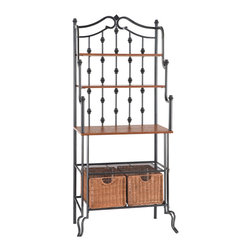 Holly & Martin - Carlsbad Baker's Rack - Elegant and beautiful, this unique black frame baker's rack is a blend of form and function. Combining multiple shelves of varying sizes, a large tabletop workspace, and two spacious rattan storage baskets this kitchen organizer is sure to suit your needs. The decorative black frame is crafted from metal tubing to ensure strength and durability.
