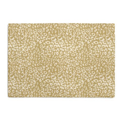 Tan Leopard Print Custom Placemat Set - Is your table looking sad and lonely? Give it a boost with at set of Simple Placemats. Customizable in hundreds of fabrics, you're sure to find the perfect set for daily dining or that fancy shindig. We love it in this tan & white woven leopard animal print.  welcome to the jungle!