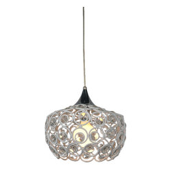 Bromi Design - Bromi Design Holland 1-Light Crystal Pendant in White - Dress up your ceiling with something special. With cozy soft light shining through swirls of white metal and shimmering crystal, this pretty pendant adds winsome warmth to any space.