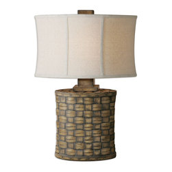 Cestino Woven Table Lamp - *Heavily Distressed Light Pecan Finish Accented With A Gray Wash. The Oval Modified Drum Shade Is An Oatmeal Linen Fabric With Light Slubbing.