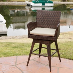 Braxton PE Wicker Swivel Bar Stool with Arms - Weaving its way into your heart, the Braxton PE Wicker Swivel Bar Stool with Arms is made from durable wicker. This swiveling bar stool comes in a multi-brown finish that is complemented perfectly with a cushion in cream. It is made weather-resistant and has a durable iron frame and comfortable arms.About Best Selling Home Decor Furniture LLCBest Selling Home Decor Furniture LLC is a US-based company dedicated to providing you with a wide variety of fine furniture. With sales and manufacturing offices in Europe and China, as well as the ability to ship to anywhere in the world, no one is excluded from bringing these lovely pieces home. From outdoor to indoor furniture, children's furniture to ottomans and home accessories, all your needs will be met with attractive, high quality products that will last.