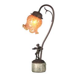 Dale Tiffany - Dale Tiffany TA10839 Cherub Base Accent Lamp - Shade: Hand Blown Art Glass