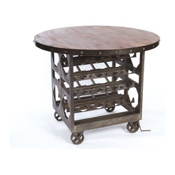 Go Home Ltd - Napa Cellar Table - Black iron finished steel with waxed reclaimed wood top.