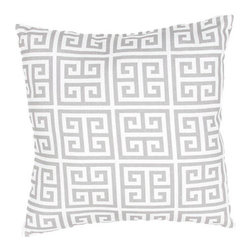 Jaipur - Veranda Gray 18-Inch Decorative Pillow - - These fashion forward pillows in trellis stripes and whimsical patterns are for both indoor and outdoor use       - Care Instructions: Remove the throw pillow's cover if it is removable. Wash the cover separately from the pillow. Pre-treat badly soiled or stained areas on the pillow cover with a color-safe prewash spray. Rub the spray into the stain with a damp sponge. Wash the pillow cover or the whole pillow on a gentle-wash cycle in warm water with a very mild detergent. Detergent for delicate fabrics or baby clothes is usually suitable. Remove the pillow or pillow cover as soon as the washing machine has ended the cycle and has shut off. Hang the pillow or cover up to dry in a well-ventilated area. If the care label specifies that the item is dryer-safe place the pillow or pillow cover in the dryer and tumble dry on low heat. Fluff the pillow once it is dry in order to maintain its form. Don't use the pillow until it is completely dry. Damp pillows will attract dirt more easily  - Made in USA Jaipur - PLW101782