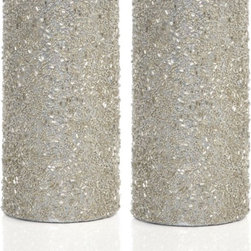 Glitter Pillar Candles, Silver - These glittery pillar candles are a perfect way to brighten up your tabletop.