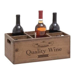 Benzara - Wooden Box Style Classy Portable Wine Holder - Wooden Box style Classy Portable Wine holder. This wooden box styled wine holder is perfect to compliment your expensive and rare wine collection. Some assembly may be required.