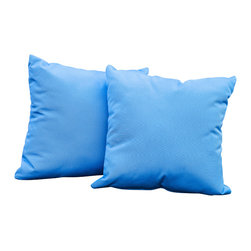 """Great Deal Furniture - Samara Blue 17"""" Outdoor Accent Pillow (Set of 2) - Accessorize your home with these Samara blue pillows. Upholstered in Sunbrella woven fabric, a durable weather resistant material, these colorful chic accent pillows are a great option to add flare and comfort to your home. Use them indoors or to accessorize your outdoor seating set."""