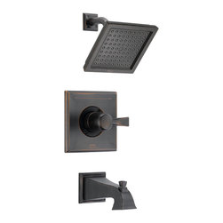 Delta - Dryden Monitor 14 Series Pressure Balance Tub and Shower Trim - Delta T14451-RB Dryden Monitor 14 Series Pressure Balance Tub and Shower Trim with Raincan Showerhead and Diverter Tub Spout in Venetian Bronze.