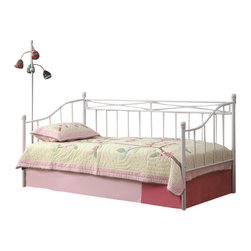 Coaster - Coaster Casual Metal Frame Daybed in White - Coaster - Daybeds - 3001091138A - Perfect for children's bedrooms guest bedrooms or the living room this versatile daybed freshens and brightens any space you place it in. The beautiful white metal frame is simple and charming suggesting a hint of country cottage appeal while blending with almost any color scheme or decor. A luxurious place to lounge during the day and sleep at night this daybed meets a multitude of furnishing needs while offering a brilliant style update.