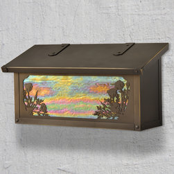 California Poppy Horizontal Wall Mounted Mailbox - A tribute to the state flower, these California poppies flank the glass front panel to create an exclusive design from America's Finest. Select one of our many hand applied patina finishes and complete the design with a beautiful piece of art glass to create the sky background. Handmade of solid brass it has a traditional hinge detail on the lid and a rubber bumper inside to eliminate any noise when closing. The corner rivets complete the design and give this mailbox it's handcrafted look. Easy to mount and a wonderful addition to your front entry this California Poppy mailbox design will be a delight for years to come. As with all America's Finest products it carries our lifetime warranty.