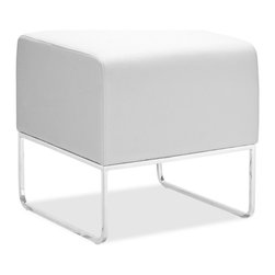 Zuo Modern - Zuo Plush Ottoman in White - Ottoman in White belongs to Plush Collection by Zuo Modern This versatile ottoman is contemporary and compact, upholstered in leatherette that stands up to high traffic. Understated chromed steel tube legs complete the Plush ottoman. Ottoman (1)