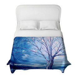 DiaNoche Designs - Silent Night Duvet Cover - Lightweight and super soft brushed twill duvet cover sizes twin, queen, king. Cotton poly blend. Ties in each corner to secure insert. Blanket insert or comforter slides comfortably into Duvet cover with zipper closure to hold blanket inside. Blanket not Included. Dye Sublimation printing adheres the ink to the material for long life and durability. Printed top, khaki colored bottom. Machine washable. Product may vary slightly from image.