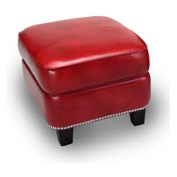 None - Madrid Leather Storage Ottoman in Art Red - Organize your living room or bedroom by placing stray items inside of this leather storage ottoman. This versatile red piece also makes an excellent footrest or impromptu seat,and the premium leather is adorned with a modern nail-head trim.