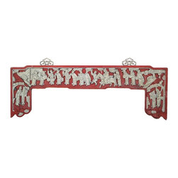 Golden Lotus - Chinese People Scenery Carved Red White Wall Plaque - This is a restored small arch shape wall plaque with red base and off gray white color carving. The theme is the scenery of people gathering with ancient Chinese dressing.