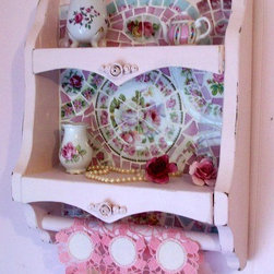 Shabby Pink Rose Wooden Shelf with Towel Rack -