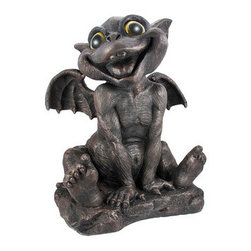 Large Gargiggles Adorable Laughing Baby Gargoyle Statue - This adorable laughing baby gargoyle statue is part of a series of statues called `Gargiggles`. Made of cold cast resin, the statue stands 17 inches tall, is 14 inches wide and 10 inches deep. He has beautiful glass eyes that seem to follow you through a room. He`ll make a great addition to your home or garden, and makes a great gift for friends and family.