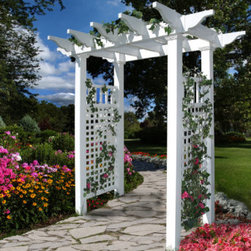 Grandin Road - Fairfield Arbor - Polyvinyl construction will not fade or deteriorate in the elements. Never needs a fresh coat of paint. Spray clean with a garden hose. Complete the look with optional wings and gate. The natural flat-top pergola design of our Fairfield Arbor provides the perfect compliment to any pathway or garden. Our state-of-the-art garden decor is more durable than wood varieties as its classic white frame will stand up to the abuse of the outdoors.. . . . Assembly required.