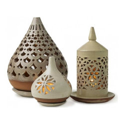 Egyptian Ceramic Lanterns - VivaTerra - These Egyptian inspired lanterns have beautiful designs that remind one of the intricate patterns on ancient mosque walls. The forms themselves also add great design and interest.