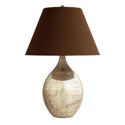 Arteriors Home - Arteriors Home Quinn Teardrop Table Lamp - Arteriors Home 42125-491 - Arteriors Home 42125-491 - This simple teardrop shape made of antiqued mercury glass is topped with a brown microfiber shade that is lined in a silver metallic fabric.