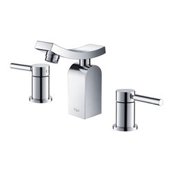 Kraus - Kraus Unicus KEF-14303 Widespread Bathroom Faucet - KEF-14303CH - Shop for Bathroom from Hayneedle.com! Complete your modern bathroom decor with this handsome industrial-style unit. The Kraus Unicus KEF-14303 Widespread Bathroom Faucet features an inverted curve design on the spout featuring a built-in Fluhs ceramic cartridge (imported from Germany) and a NeoPerl aerator to prevent mineral build-up on the spray face. Two quarter-turn lever handles provide users with complete control over the unit's flow pressure and temperature. Each piece is crafted from solid brass and features a triple-plated polished chrome finish to protect against rust corrosion and scratch damage. The unit features a widespread design that lets you easily mount between 8- and 16-inch centers perfect for larger countertops. All necessary mounting hardware is included to attach the unit to standard US plumbing connections. Drain assembly is not included.Product SpecificationsADA Compliant: YesLow Lead Compliant: YesNumber of Faucet Holes: 3Flow Rate: 2.2GPMValve Type: Ceramic DiscFaucet Height: 6.4 inchesSpout Height: 4.9 inchesSpout Reach: 3.6 inches About KrausWhen you shop Kraus you'll find a unique selection of designer pieces including vessel sinks and faucet combinations. Kraus incorporates its distinguished style with superior functionality and affordability while maintaining highest standards of quality in its vast product line. The designers at Kraus are continuously researching and exploring broader markets seeking new trends and styles. Additionally durability and reliability are vital components at Kraus for developing high-quality fixtures. Every model undergoes rigorous testing and inspection prior to distribution with customer satisfaction in mind. Step into the Kraus world of plumbing perfection. With supreme quality and unique designs you will reinvent how you see your bathroom decor. Let your imagination become reality!