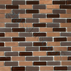 """Euro Glass - Blend Uniform Brick Brown Copper Series Glossy & Frosted Glass and Metal - Sheet size: 11 3/4"""" x 11 3/4"""""""