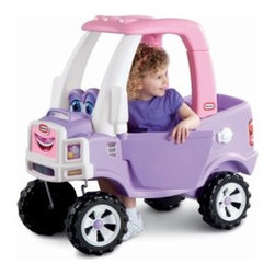Little Tikes Princess Cozy Truck Push Toy - The Little Tikes Princess Cozy Truck Push Toy makes a great ride for any 1.5-5 year old girl. This colorful pink and purple truck with big blue eyes features off-road wheels tail and headlight decals opening and closing driver's door and a flatbed with drop-down tailgate so she can haul a few of her favorite toys! The gas cap opens so she can pretend to give her vehicle a fill-up and there's also a working electronic horn that she'll go crazy over (even if it drives you crazy too)! Assembly is easy but the gal behind the wheel might need a push! About Little TikesFounded in 1970 the Little Tikes Company is a multi-national manufacturer and marketer of high-quality innovative children's products. They manufacture a wide variety of product categories for young children including infant toys popular sports play trucks ride-on toys sandboxes activity gyms and climbers slides pre-school development role-play toys creative arts and juvenile furniture. Their products are known for providing durable imaginative and active fun. In November of 2006 Little Tikes became a part of MGA Entertainment. MGA Entertainment is a leader in the revolution of family entertainment. Little Tikes services the United States from its headquarters and manufacturing facility in Hudson Ohio but also operates several manufacturing and distribution centers in Europe and Asia.