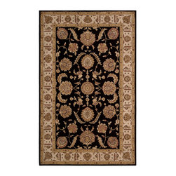 """Nourison - Nourison Heritage Hall HE19 5'6"""" x 8'6"""" Black Area Rug 52133 - The splendor of Persian antiquity shines through in this soft, lustrous rug. Verdant flowerheads bloom in stately beauty across the elegant, symmetrical design. The palette is a king's ransom of ebony, ivory and gold - a dramatic centerpiece for your decor."""