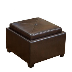 Great Deal Furniture - Durban Tray Top Storage Brown Leather Ottoman Coffee Table - For hours of fun and even hidden storage, look no further than the Durban Storage Ottoman Coffee Table. The lid reverses to reveal a tray top and plenty of storage room inside.