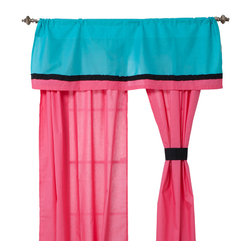 Magical Michayla - Valance - Valance comes in solid turquoise blue and trimmed in black and pink cotton fabrics.