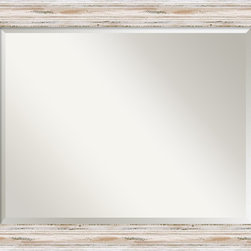 """Amanti Art - Alexandria Whitewash Wall Mirror - This mirror features a distressed whitewashed frame with a distinctive high outer edge design. The frame is 3"""" wide, 2"""" deep and made from wood, which is considered to be the finest in framing materials."""