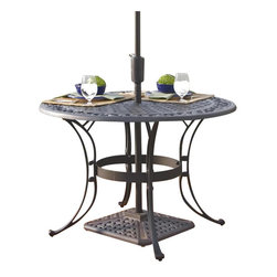 "Home Styles - Home Styles Round Outdoor Dining Table in Black Finish-42"" Diameter - Home Styles - Patio Dining Tables - 555430 - The Home Styles Round Outdoor Dining Table is constructed of solid cast aluminum with a hand antiqued powder coat black finish. Available in 42"""" or 48"""" diameter this outdoor dining table features a rounded top with an attractive pattern and an opening at the center to accommodate an umbrella (not included). Add traditional charm to your patio with the Home Styles Round Outdoor Dining Table.Features:"